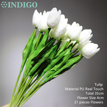 21 pcs Mini White Tulip High Quality Holland Home Flower PU Real Touch Artificial Flower Wedding Flower Party Free Shipping