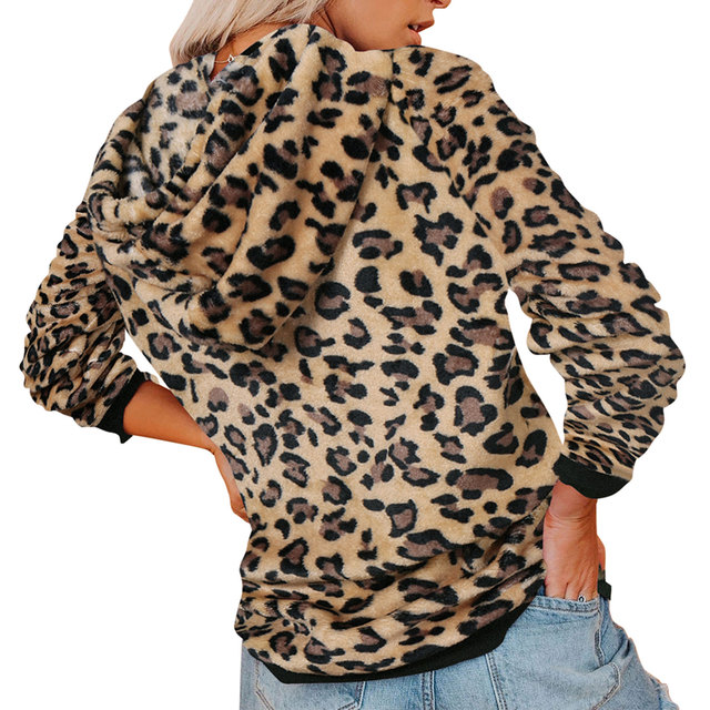 Casual Hoodies, Long Sleeve Front Pocket Drawstring Leopard/camo 1
