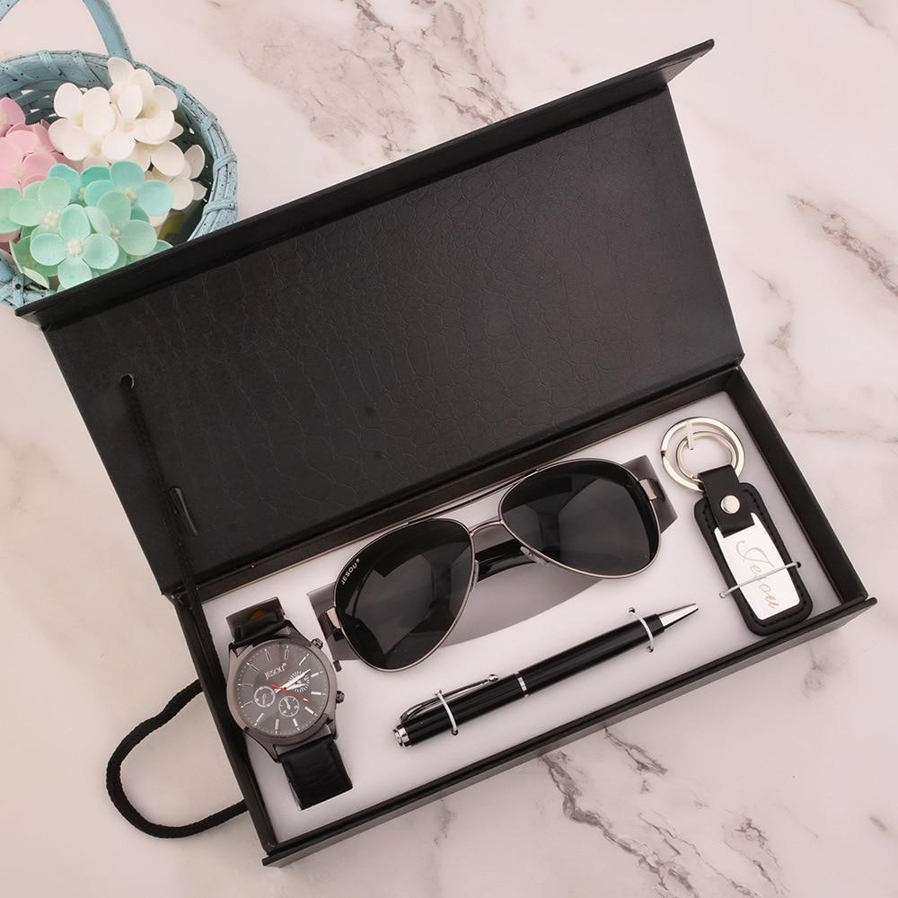 Ensemble cadeau pour hommes magnifiquement emballé montres + lunettes de soleil cravate ceinture stylo perles bracelet ensemble montre pour hommes Sport montres de luxe