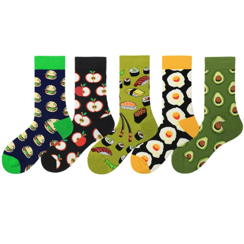 Unisex Sports Socks Athletic Mid Tube Socks Apple Avocado Sushi Pattern Color Block Socks For Women Men