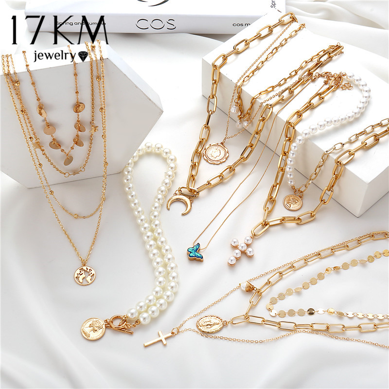 17KM Bohemian Gold Necklaces For Women Multilayer Fashion Pearl Pendants Necklace Portrait Chokers 2020 Trendy New Jewelry Gift(China)