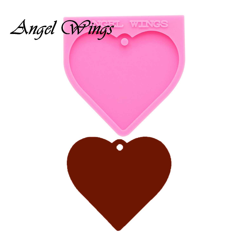 DIY Shiny Valentine Heart Shape Silicone Mold Keychain Jewelry Epoxy Mould