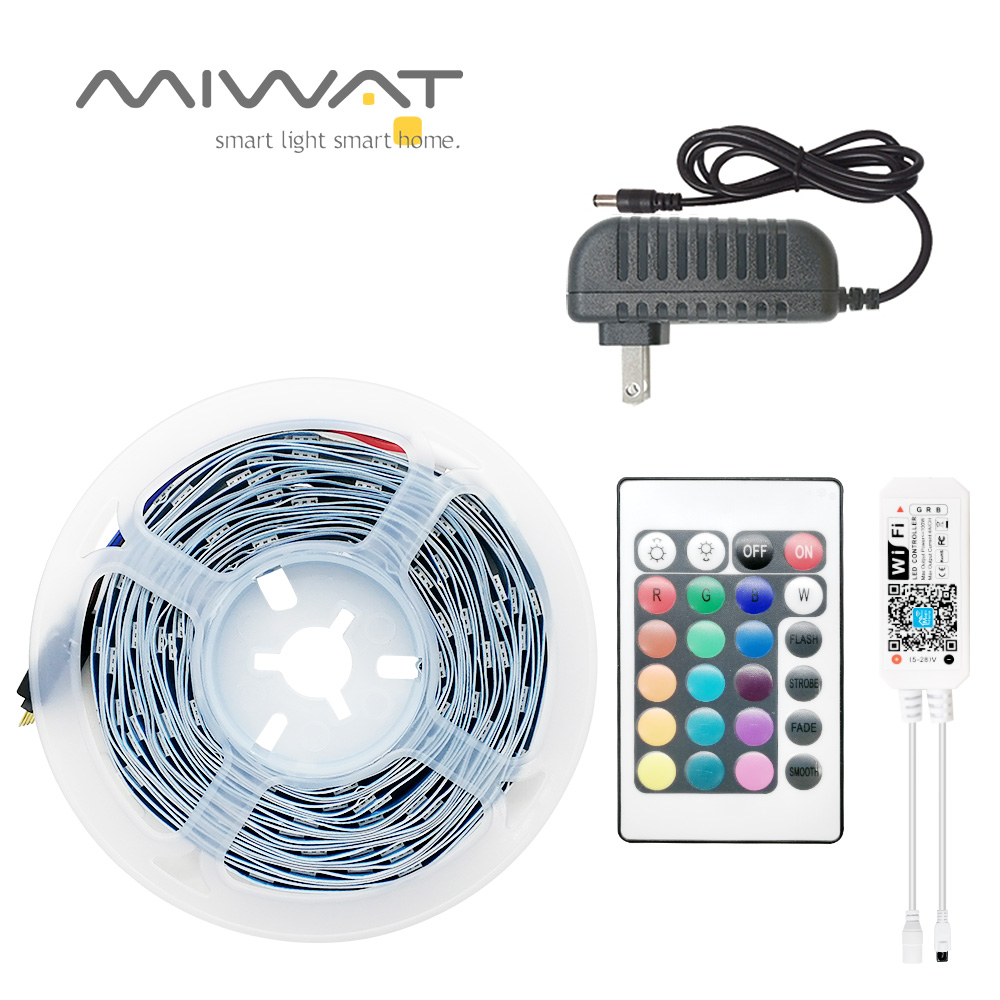 5m 10m 20m <font><b>LED</b></font> Strip 5050 IP20 RGB Strip <font><b>LED</b></font> Light Flexible Ribbon <font><b>Stripe</b></font> DC 12V <font><b>24V</b></font> RGB Diode Tape WIFI Controller Adapter image
