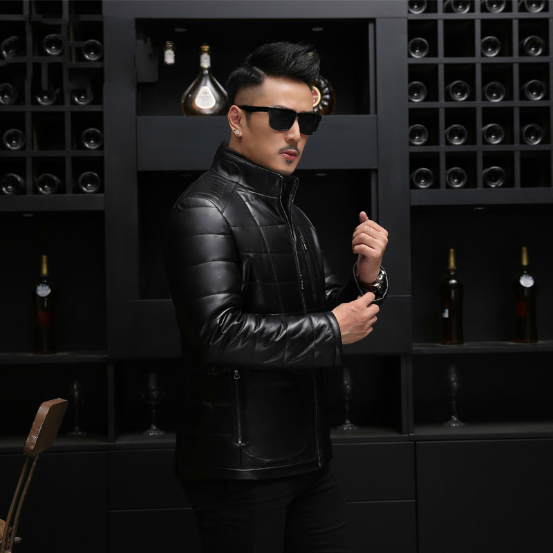 2020 Leather Jacket Men Mink Fur Collar Jacket Plus Size Winter Sheepskin Men's Duck Down Coat Jaqueta De Couro 18017 YY575