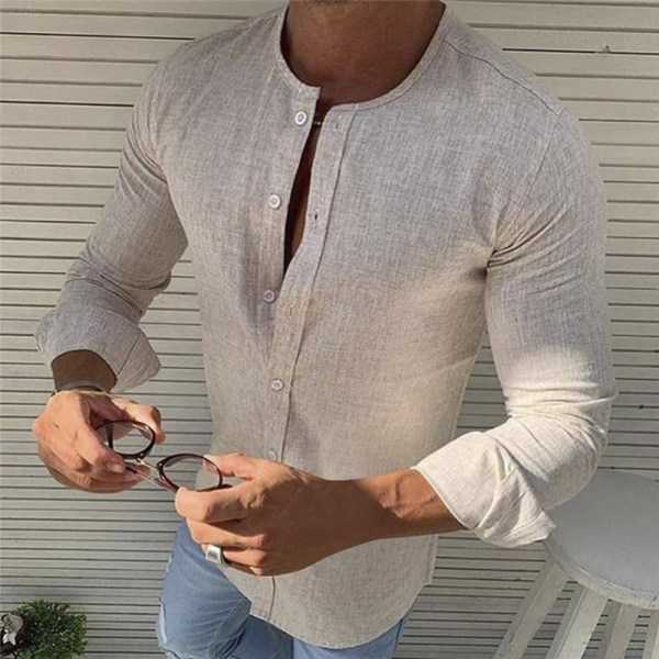 Men's Shirt Pure Color Cotton and Linen Single Breasted Round Collar Men's Casual Long Sleeve Shirt 4 Colours
