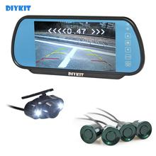 Lcd-Display-Mirror Car-Monitor Video-Parking-Radar Rear-View-Camera 4-Sensors HD DIYKIT