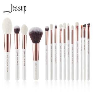 Image 1 - Jessup pérola branco/rosa de ouro pincéis de maquiagem profissional conjunto de ferramentas de escova kit fundação em pó natural cabelo sintético