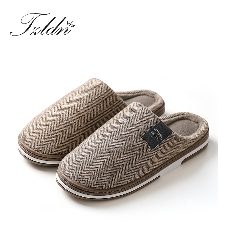 2019 TZLDN Winter Men Slippers Cotton Warm Causal Home Slippers Non-slip Soft Thick Bottom Couple Slipper Male Flat Shoes