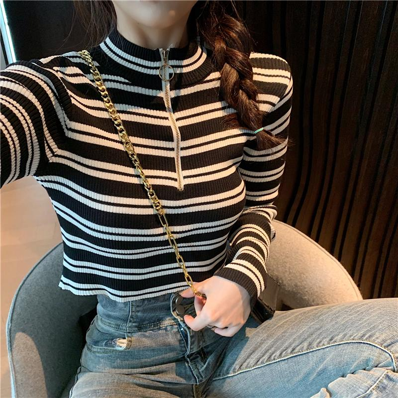 Spring Autumn Women Striped Sweater Front Ring Zipper Cropped Pullover Crop Top Girls Full Sleeve Sweater For Female