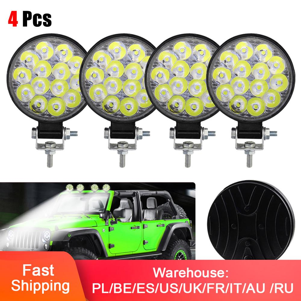 4pcs Car Truck Round Work Lights 14-LED Light 12V 24V Flood Bulb Driving Lamp Waterproof Work Lights,Auto Light