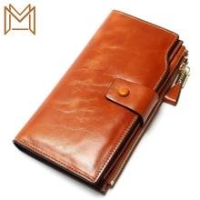 Full Genuine Leather Wallet Long Oil Wax Cowhide Women's Position Wallet