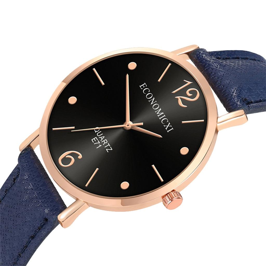 Fashion Women's Leather Strap Watches Quartz Analog Round Wrist Watch Fashion Ladies Wrist Watch Reloj Mujer
