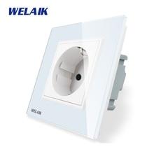 WELAIK Fabricante Power Standard Vidro Painel de Parede Tomada Europeia Socket Parede DA UE Outlet branco Parede Socket 16A AC110 ~ 250V A18EW