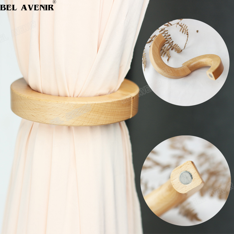 fashion wooden magnetic curtain tie back use for holding curtain