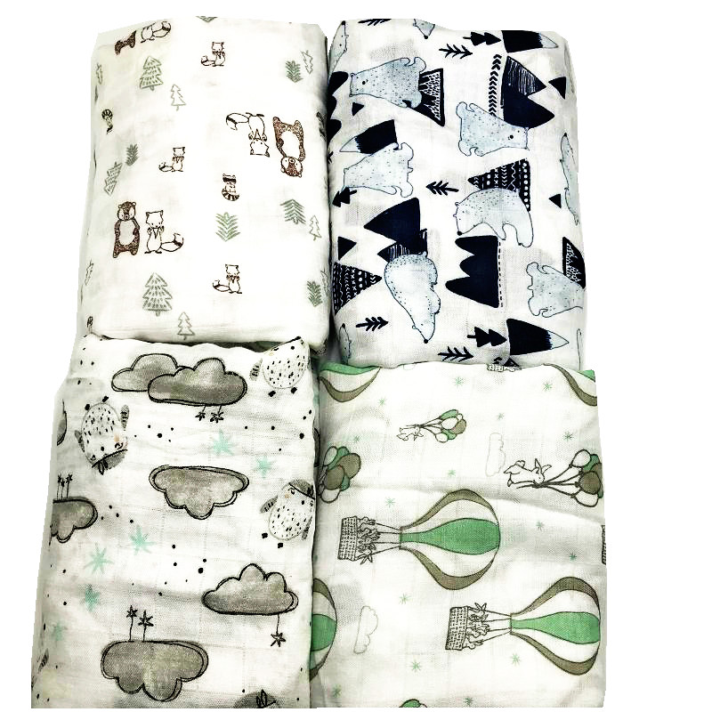 100% Bamboo Fiber Muslin Blanket Print Floral Baby Bedding Bath Towels Blankets Newborn For Babies Swaddle Wrap Bath Towel