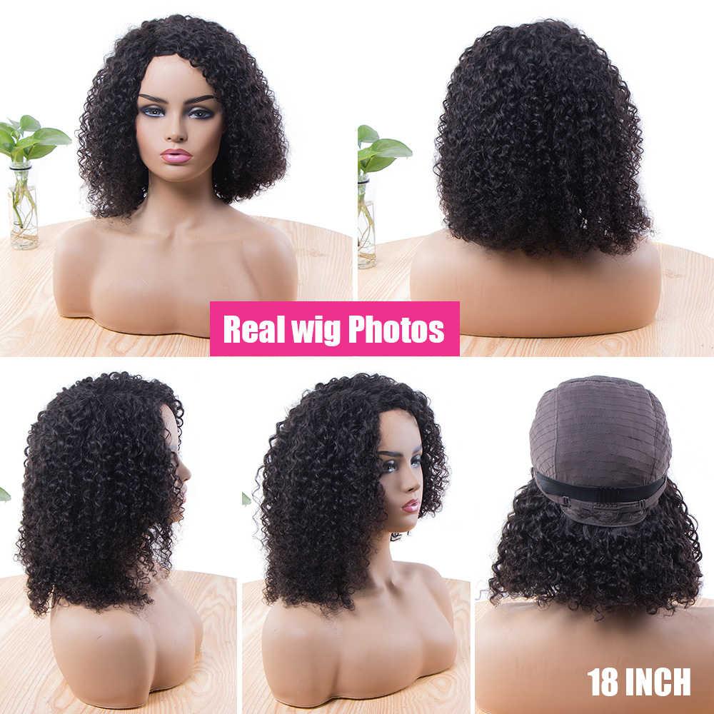 Krótki Jerry peruka z lokami ludzkich włosów peruki dla czarnych kobiet wstępnie oskubane 180 brazylijski Remy kręcone Bob peruka z boku/środkowa część natura