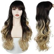 Длинные Синтетические волнистые парики с челкой натуральные