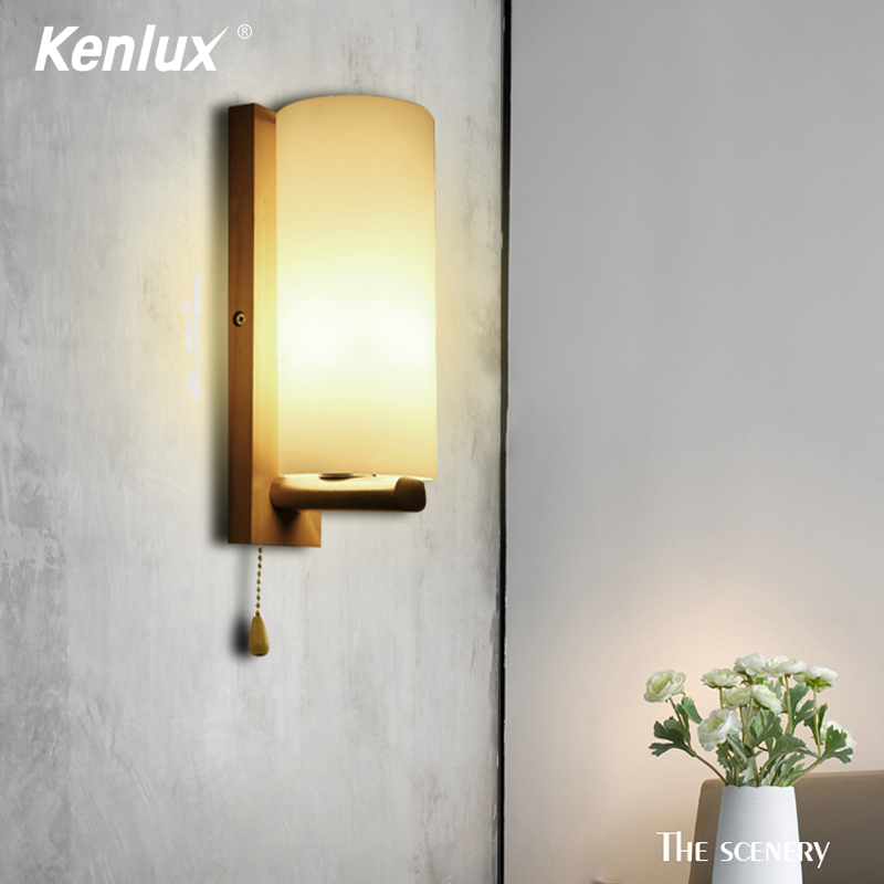 Decorative Nordic Sconce Wall Lights With Glass Shade Creative Home Indoor Bedside Led Wall Lamp Wood Night Lights Fixtures E27