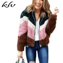 2019 Women Autumn Winter Contrast Color Short Jacket Faux Fur Fluffy Coat Warm Long Sleeve Zipper Up Turn Down Casual Outwear