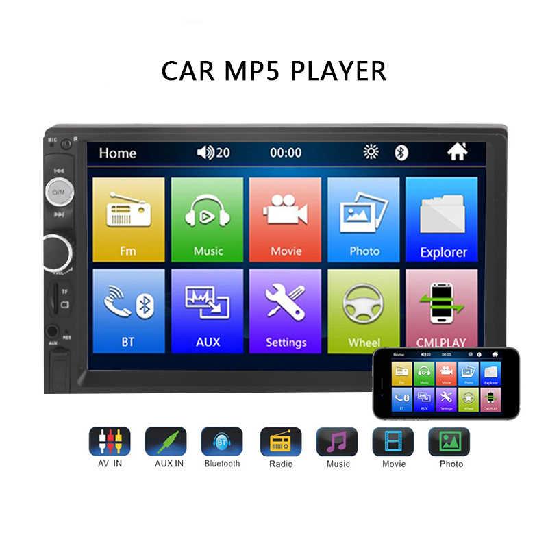 "2 Din Mobil Radio 7 ""HD Auto Radio Multimedia Player 2DIN Layar Sentuh Auto Audio Stereo MP5 Bluetooth USB TF FM Kamera"