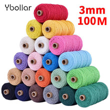 3mm 100 Meters Cotton Cord Colorful Rope Beige Twisted Craft Macrame String DIY Home Textile Wedding Decorative