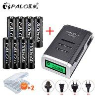 PALO-pilas recargables AA de 1,2 V NI-MH, 4 Uds., 1,2 V aaa, cargador de batería inteligente con pantalla LCD
