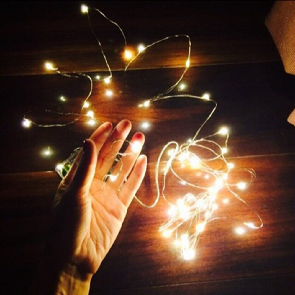 LED Copper Wire String Light Button Cell Powered Fairy Light Outdoor Decoration Light For Christmas Wedding Party