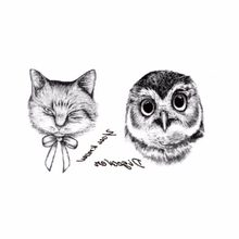 2PCS Waterproof Temporary Tattoos Shot Sexy Men Women Spray Large Black Owl Arm Fake Transfer Tattoo Stickers(China)