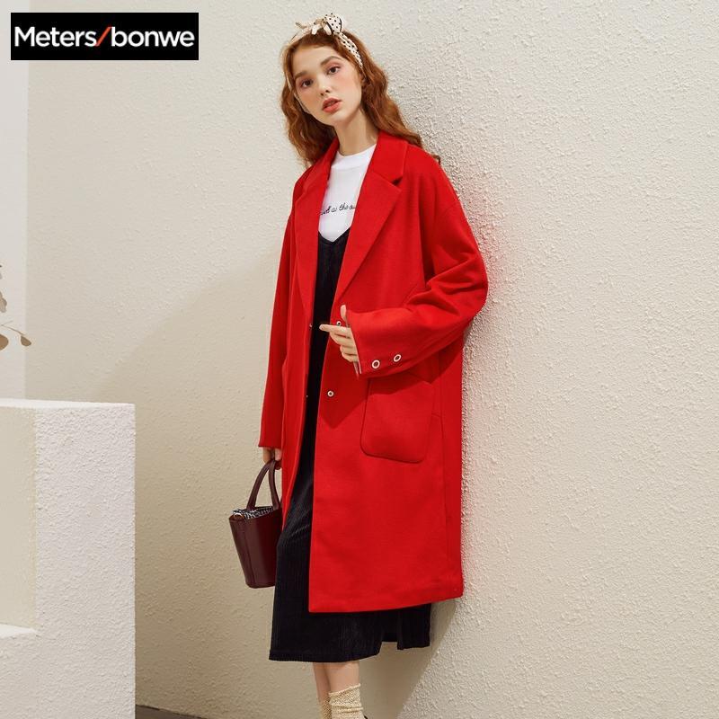 Metersbonwe Women's Woolen Coat Outerwear Autumn And Winter Fashion Warm Woolen Blends Female Fashion Elegant Office Coat