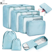 8 stück Set Reise Veranstalter Lagerung Taschen Koffer Verpackung Set Lagerung Fällen Tragbare Gepäck Organizer Kleidung Schuh Ordentlich Pouch