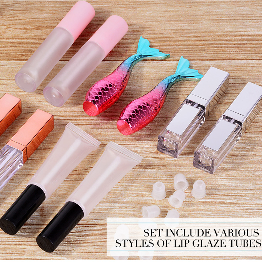 20Styles Empty Lip Gloss Tubes DIY Lip Gloss Container Transprent Refillable Bottles Empty Lipgloss Tubes Bottle For DIY Lipglos