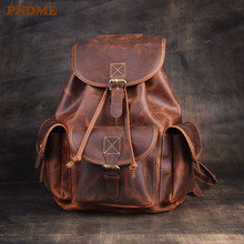 PNDME fashion retro genuine leather women's backpack outdoor travel natural crazy horse cowhide bookbag designer laptop bagpack