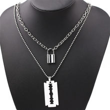 Moda em camadas correntes harajuku stypadlock pingente colares pedra espinhos chama lâmina de bloqueio colares para mulher jóias de metal