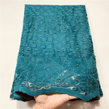 2020 beads Lace Fabric for Women Wedding Dress African stones Lace Fabrics with Sequins French Tulle Mesh Lace Bridal Materials