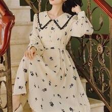 Женское винтажное вечернее платье с цветочным принтом длинным