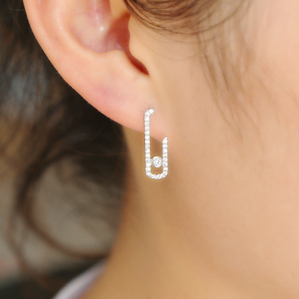 925 Sterling Silver Women Safty Pin Earring Pave Clear Shiny Cz Chic Ear Jewelry For Girl Gift 2021 New Design