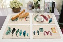 Перья коврик для стола разноцветная подстилка из хлопка и льна