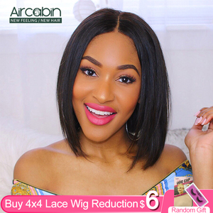 Aircabin 4x4 Lace Closure Bob Wig Brazilian Straight Human Hair Glueless Wigs Short Bob Wigs For Black Women Non-Remy Low Ratio(China)