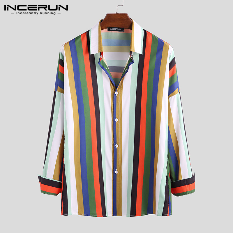 INCERUN Stylish Color-block Striped Shirt Men Breathable Long Sleeve Button Up Street Lapel Loose Basic Shirts Men Camisa 2020