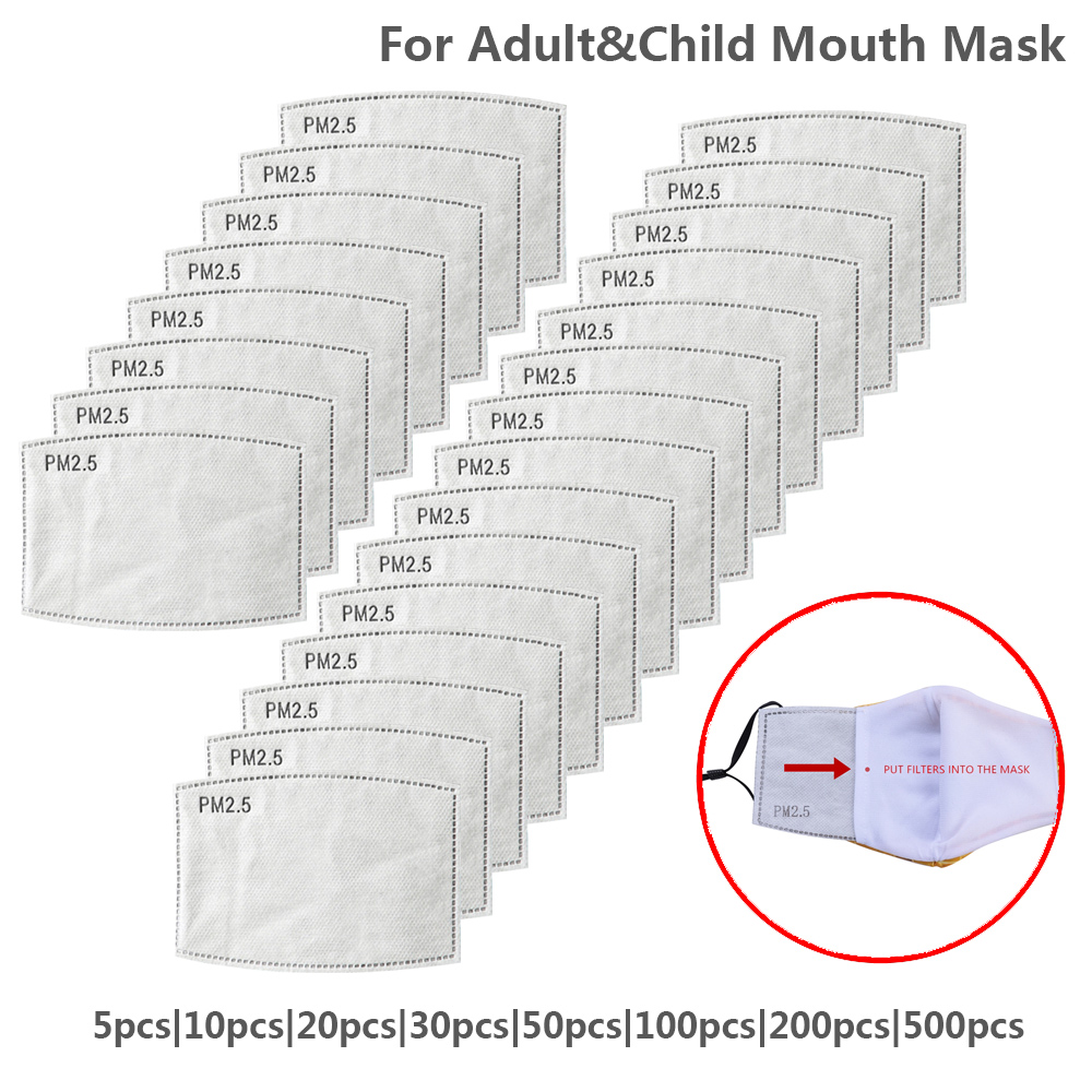 5 Layers PM2.5 Filter Mask Disposable Mouth Mask Filter Protective Anti Dust Face Mask Anti Flu Mask For Adult Kid Mascarilla
