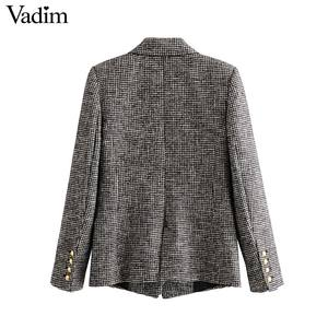 Image 2 - Vadim women formal houndstooth tweed blazer double breasted long sleeve pockets coats office wear casual tops CA601
