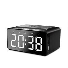 Wireless Charger Bluetooth Subwoofer Speaker 2 Alarm Clock USB Charging for LED Mirror Phone Portable FM Radio Brightness