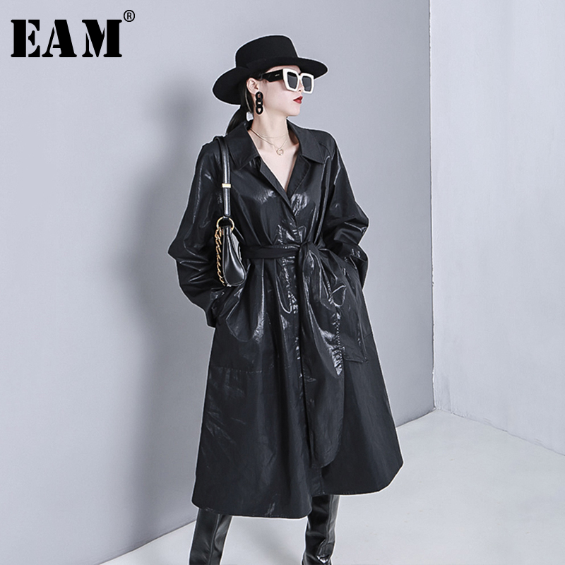 [EAM] Women Black Bandage Thin Big Size Trench New Lapel Long Sleeve Loose Fit Windbreaker Fashion Tide Spring 2020 1R778