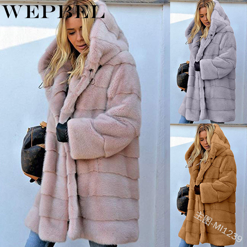 WEPBEL Women Loose Outwear Jackets Hooded Plus Size Autumn Winter Warm Thick Fur Fashion Casual Ladies Jacket