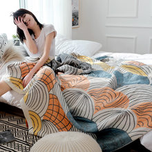 Toalla de gasa de algodón para adultos, manta de muselina suave a cuadros para cama, sofá, avión, colcha de viaje