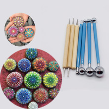 Polymer Sculpture Tools Mandala Dotting Painting Stencils Rocks Template Rods Ball Stylus Painting Pottery Clay Craft Stamp Tool dsha hot sale ball stylus dotting tools 18 pcs clay tools sculpture modeling tools for pottery sculpture plastic paper flowers