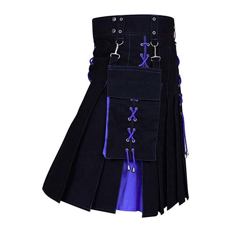 WENYUJH 2019 New Autumn Utility Kilt Hybrid Modern Cotton Jeans Kilt For Men's Scottish Traditional Retro Vintage Pattern Skirt