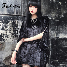 Fitshinling Velvet Zipper Gothic T-Shirts Women Long Tees Tops Goth Dark Black Loose Female T-Shirt Harajuku Print T Shirt Sale