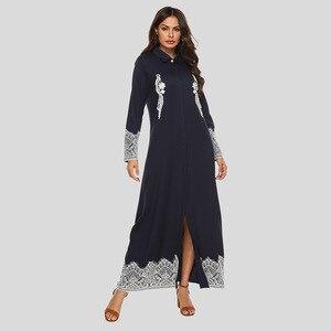 Muslim Abaya Dress Women Single-breasted Lace Splice Lapel Maxi Dress Open Abayas Dubai Kimono Islamic Clothing Jubah Long Robe