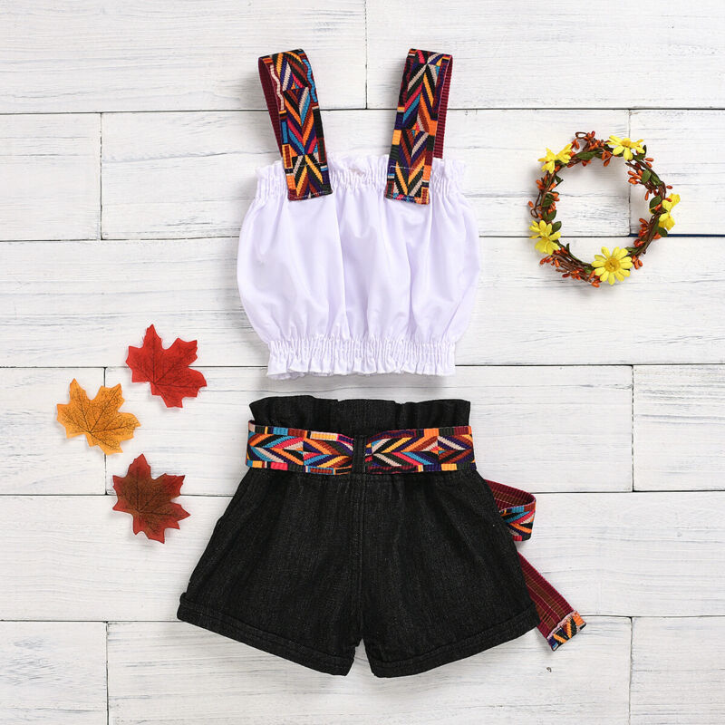 2020 Kids Toddler Baby Girl ummer outfit Spaghetti Strap White Crop Tops Vest Black Belt Shorts Jeans Pants  Fashion 2PCS Set 5